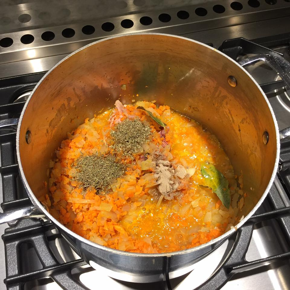 Cook the carrot, onion and celery until translucent. Add in spices.